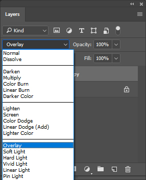 To see the sharpness of the picture, choose overlay, soft light, hard light or linear light option.