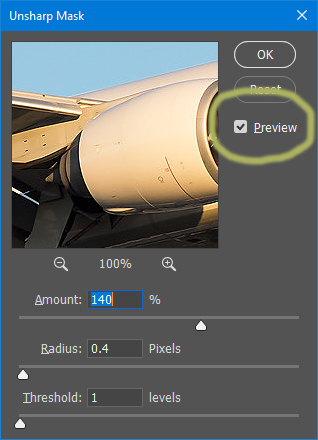 Preview window.
