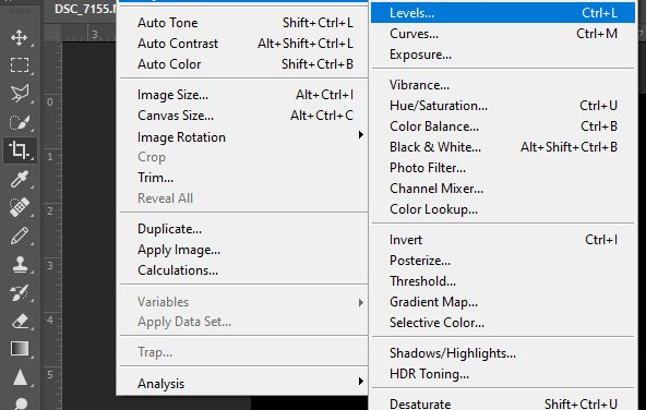Photo editing tools – Levels